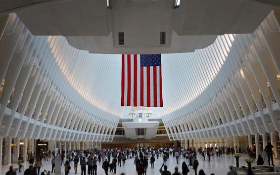 Wallpaper USA, New York, World Trade Center, flag, hall, people
