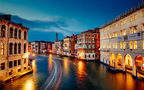 Fondos de pantalla Venecia, Gran Canal, hermosa noche, casas, luces, noche, Italia