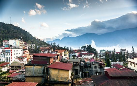 Fond d'écran Vietnam, montagnes, maisons, nuages, coucher de soleil