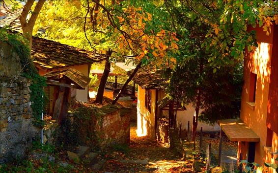 Papéis de Parede Aldeia, casas, campo