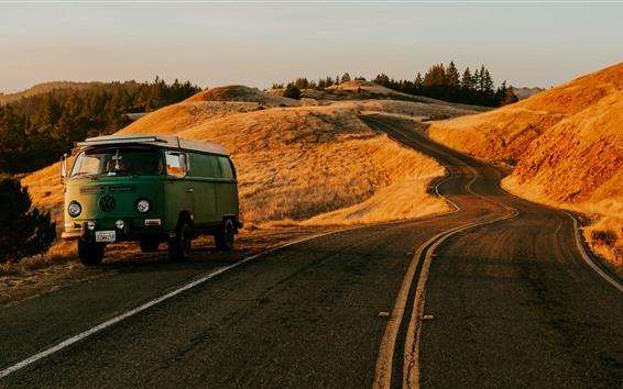 Wallpaper Volkswagen car, road, mountains