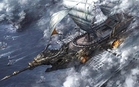 壁紙 戦争、ヨット、海、アート写真