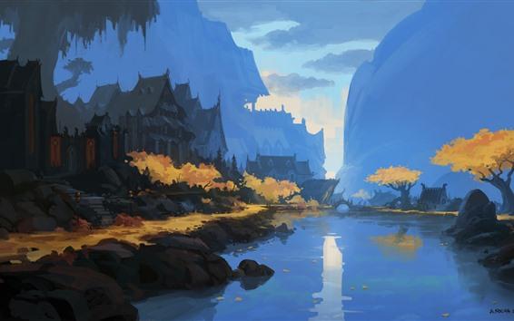 Papéis de Parede Pintura em aquarela, aldeia, rio, ponte, montanhas