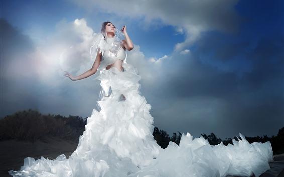 Wallpaper White skirt Asian girl, clouds, art photography