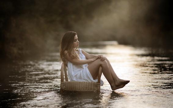 Wallpaper White skirt girl, blonde, sit on chair, river