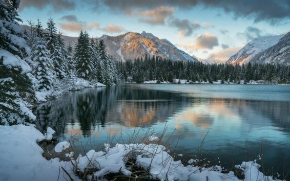 Fonds Décran Hiver Neige Lac Montagnes 1920x1080 Full Hd