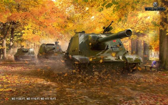Wallpaper World of Tanks, trees, autumn
