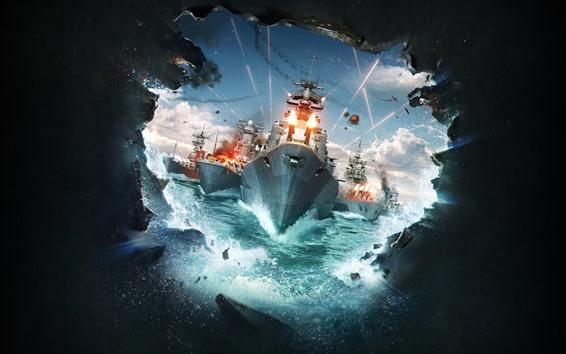 Wallpaper World of Warships, hole, battle