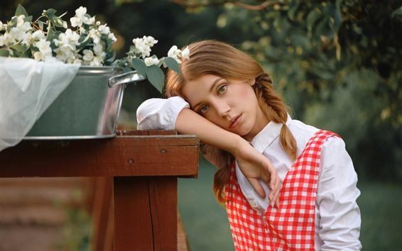 Wallpaper Young girl, braids, flowers