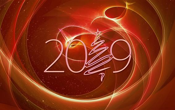 Papéis de Parede 2019 ano novo, árvore de Natal, design criativo, abstrato