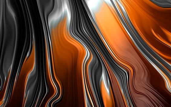 Wallpaper Abstract fractal graphics, orange and black