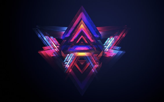 Wallpaper Abstract triangle, creative design, purple and blue