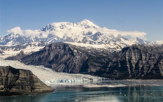 Обои Национальный парк Аляска, горы, снег, озеро, США