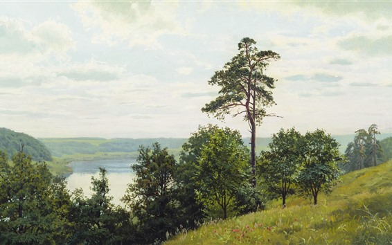 Wallpaper Andrey Gerasimov, oil painting, trees, grass, lake