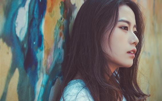Wallpaper Asian girl, black hair, face, side view