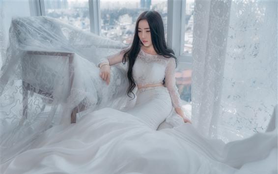 Wallpaper Asian girl, bride, white skirt, pose, window, chair