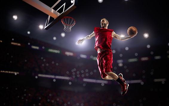 Обои Спортсмен, баскетбол, мужчина, прыжки, спорт