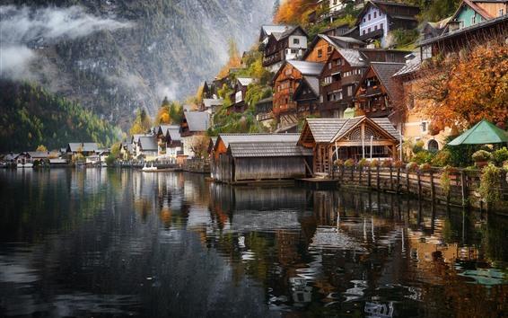Papéis de Parede Áustria, hallstatt, casas, lago, montanhas