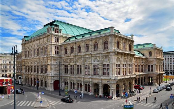 Papéis de Parede Áustria, viena, casa ópera, cidade, rua