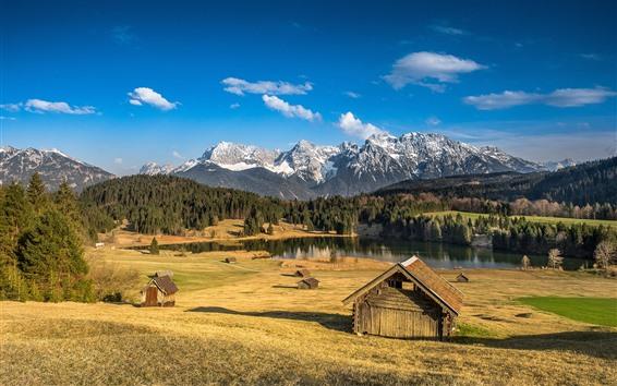 Papéis de Parede Outono, árvores, lago, montanhas, cabana