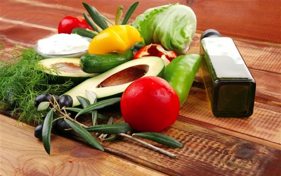 Wallpaper Avocado, peppers, cabbage, oil, still life