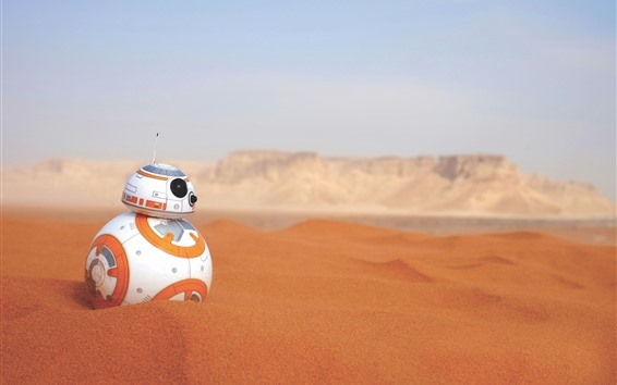 Wallpaper BB-8 robot, desert, Star Wars
