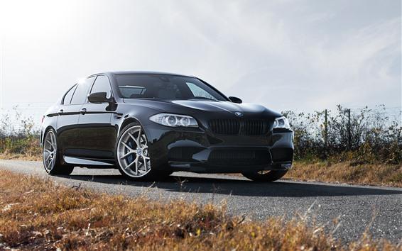 Wallpaper BMW F10 M5 black car front view