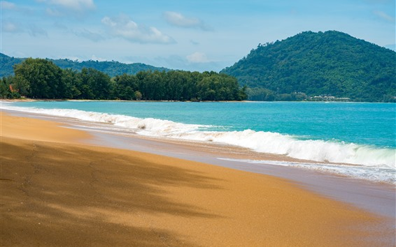 Wallpaper Beach, sea, waves, mountains, summer