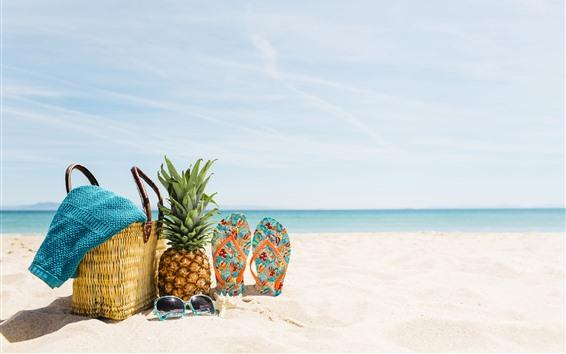 배경 화면 해변, 여름, 바다, 선글라스, 파인애플, 슬리퍼, 바구니