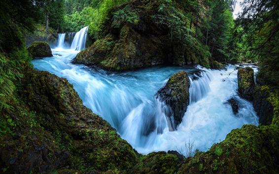 Wallpaper Beautiful nature landscape, waterfall, stream, rocks, trees
