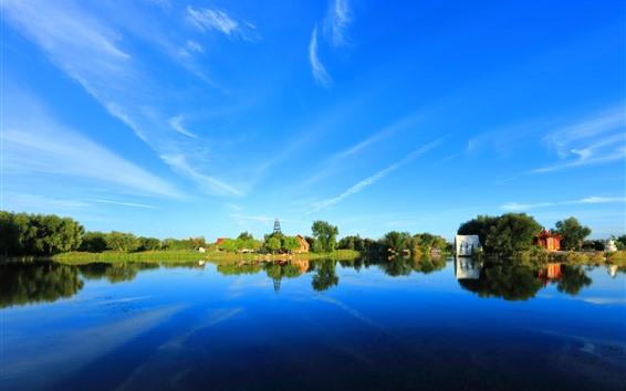 Papéis de Parede Belo parque, lago, árvores, reflexão da água, céu azul, china