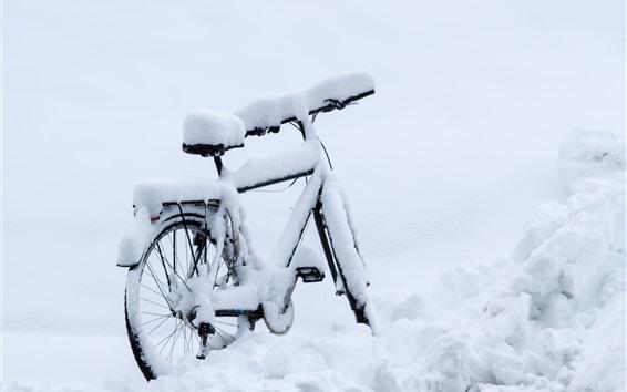 壁紙 バイク、厚い雪、冬