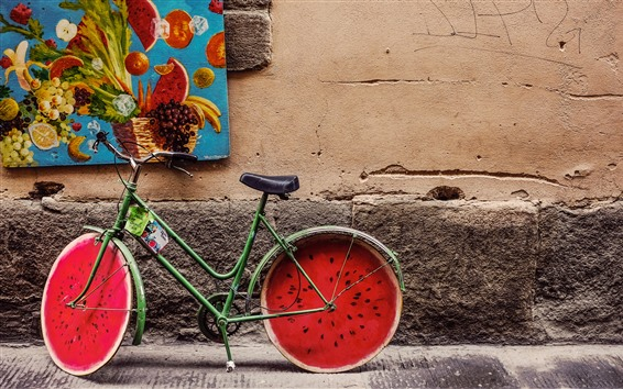Wallpaper Bike, watermelon wheel, creative