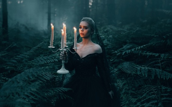 Wallpaper Black skirt girl in the forest, candles, flame