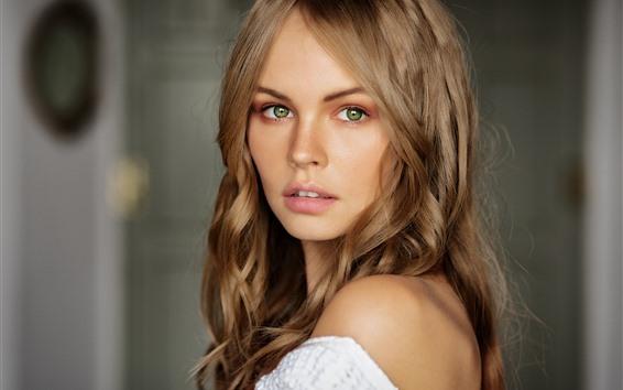 Wallpaper Blonde girl, green eyes, look back