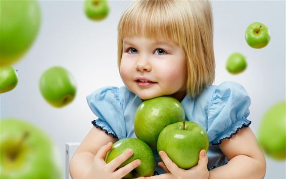 Wallpaper Blonde little girl and green apples