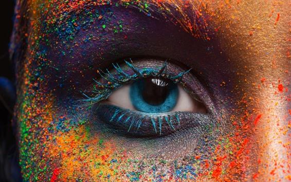 Wallpaper Blue eye, face, colorful powder, festival