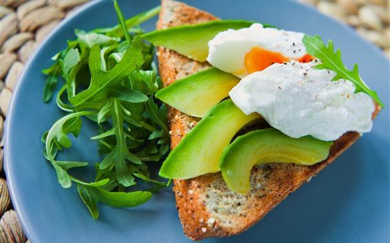 Wallpaper Breakfast, avocado, egg, bread