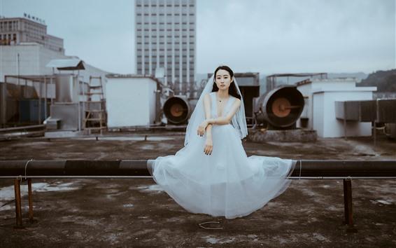 Wallpaper Bride, white skirt girl, roof