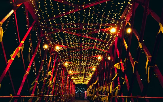 Wallpaper Bridge, night, lights, holiday