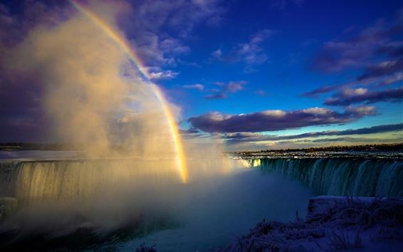 壁紙 カナダナイアガラの滝、霧、雪、冬、虹