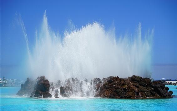 Wallpaper Canary Islands, water splash, sea, Spain