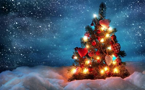 Papéis de Parede Árvore de natal, decoração, luzes, neve, inverno