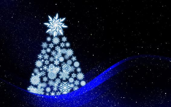 Wallpaper Christmas tree, snowflakes, blue curves