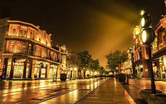 Papéis de Parede Rua da cidade, noite, luzes, loja, China