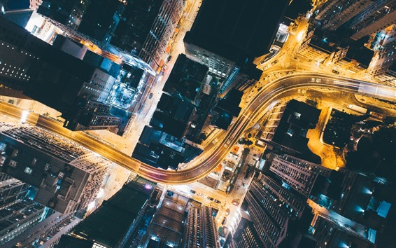 Wallpaper City, top view, roads, skyscrapers, lights, night, China