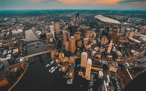 Papéis de Parede Cidade, vista superior, arranha-céus, cais, rio