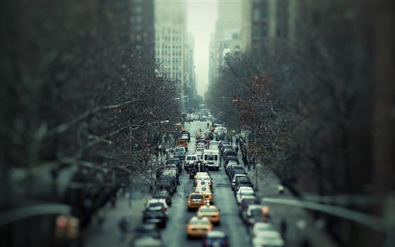 Wallpaper City, traffic, cars, road, hazy