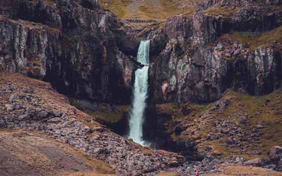 Wallpaper Cliff, rocks, waterfall