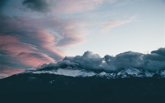 Wallpaper Clouds, mountains, dusk